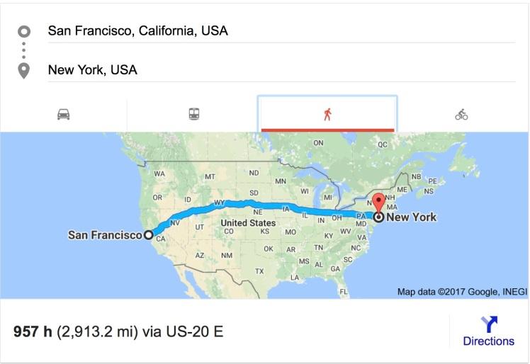 SF to NY walking